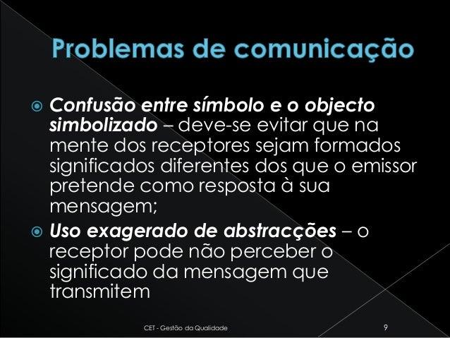  Confusão entre símbolo e o objecto simbolizado – deve-se evitar que na mente dos receptores sejam formados significados ...