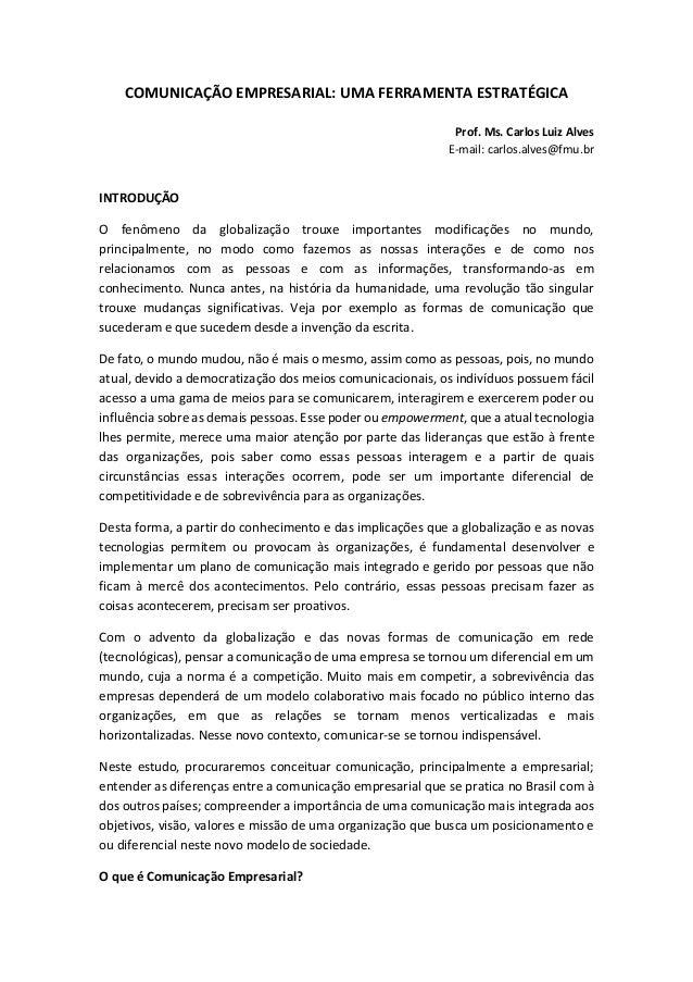 Comunicação Empresarial  uma ferramenta estratégica 5d62a0c6b5cb5