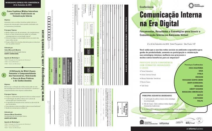Conferência   Comunicação Interna na Era Digital Ferramentas, Resultados e Estratégias para Inserir a Comunicação Interna ...