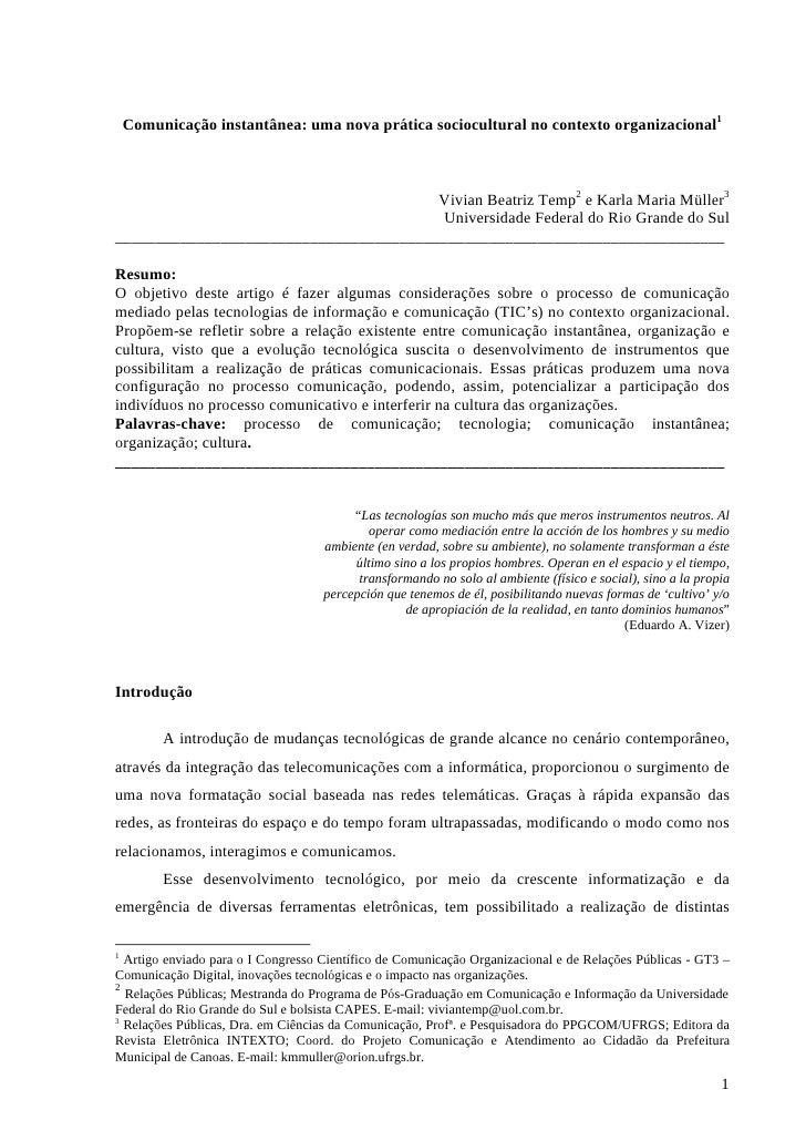 Comunicação instantânea: uma nova prática sociocultural no contexto organizacional1                                       ...