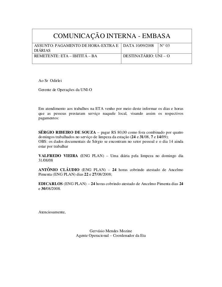 COMUNICAÇÃO INTERNA - EMBASAASSUNTO: PAGAMENTO DE HORA-EXTRA E              DATA 10/09/2008      N° 03DIÁRIASREMETENTE: ET...