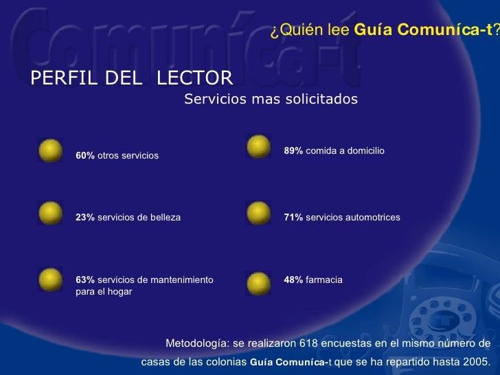 PERFIL DEL  LECTOR Servicios mas solicitados Metodología: se realizaron 618 encuestas en el mismo número de casas de las c...