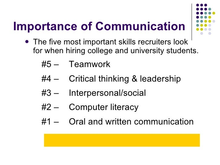 Importance of Communication <ul><li>The five most important skills recruiters look for when hiring college and university ...
