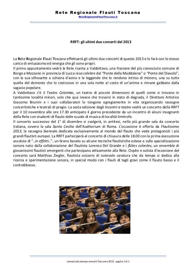 Rete Regionale Flauti Toscana ReteRegionaleFlautiToscana.it        RRFT:  gli  ultimi  due  concerti  del  ...