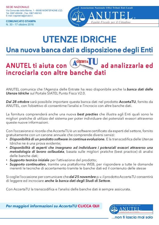 ANUTEL comunica che l'Agenzia delle Entrate ha reso disponibile anche la banca dati delle Utenze Idriche sul Portale SIATE...