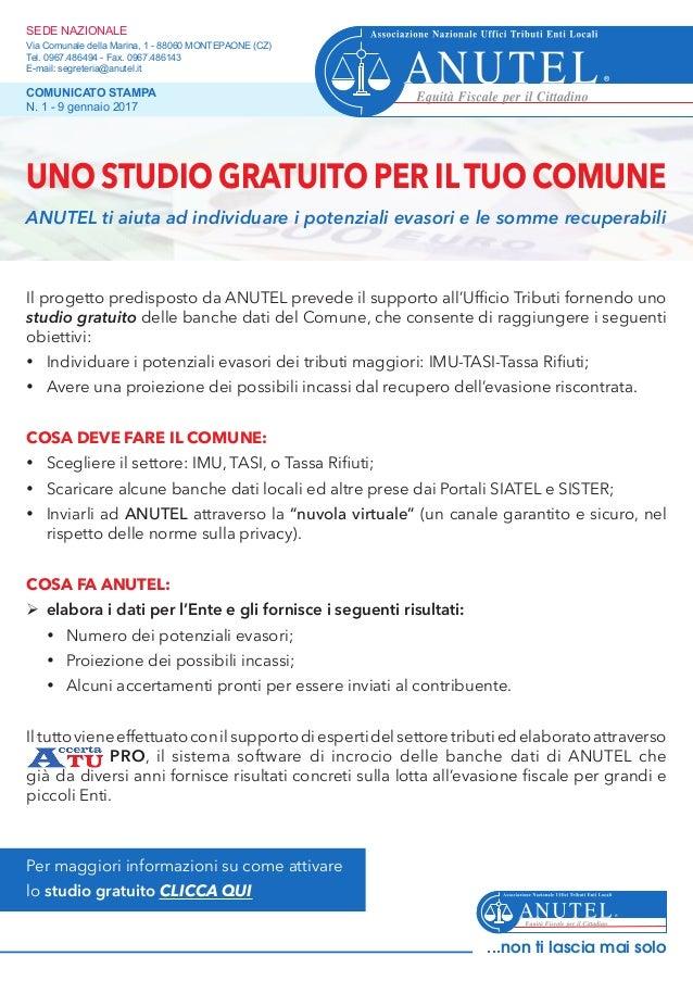 Il progetto predisposto da ANUTEL prevede il supporto all'Ufficio Tributi fornendo uno studio gratuito delle banche dati d...