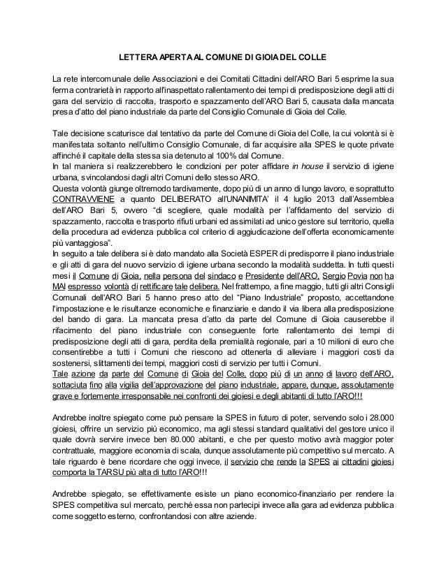 LETTERAAPERTAAL COMUNE DI GIOIADEL COLLE La rete intercomunale delle Associazioni e dei Comitati Cittadini dell'ARO Bari 5...
