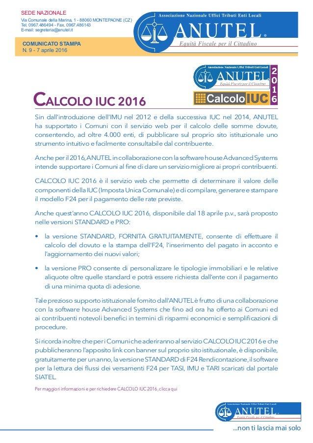 Sin dall'introduzione dell'IMU nel 2012 e della successiva IUC nel 2014, ANUTEL ha supportato i Comuni con il servizio web...