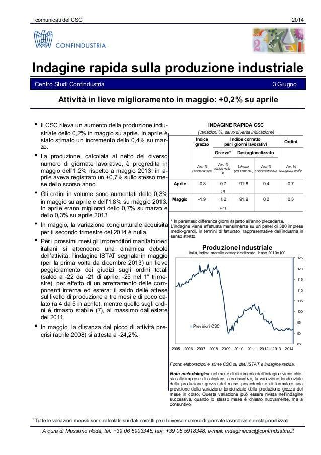 I comunicati del CSC 2014 Indagine rapida sulla produzione industriale Centro Studi Confindustria 3 Giugno  Il CSC rileva...