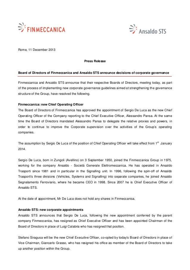 Rome, 11 December 2013  Press Release  Board of Directors of Finmeccanica and Ansaldo STS announce decisions of corporate ...