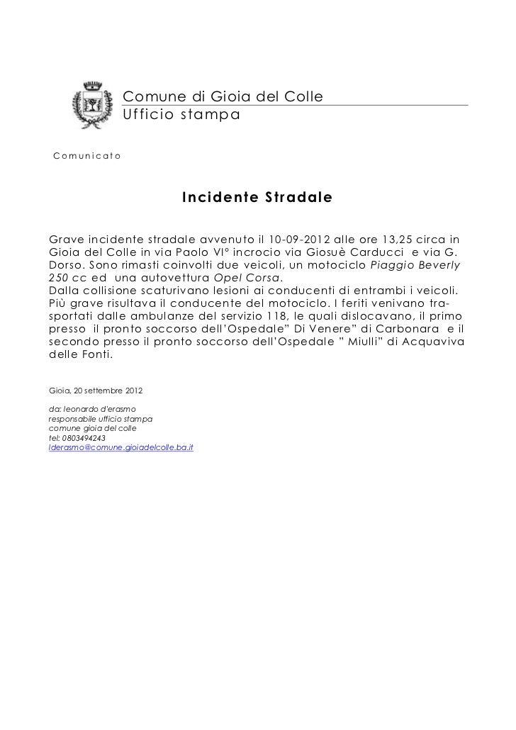 Comune di Gioia del Colle                  Ufficio stampa Comunicato                                Incidente StradaleGrav...