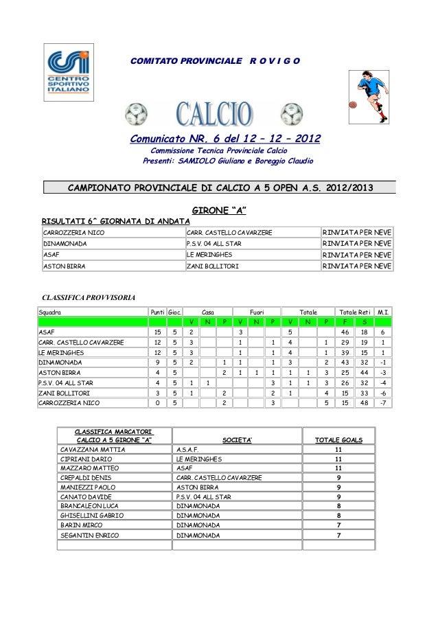 COMITATO PROVINCIALE R O V I G O                              Comunicato NR. 6 del 12 – 12 – 2012                         ...