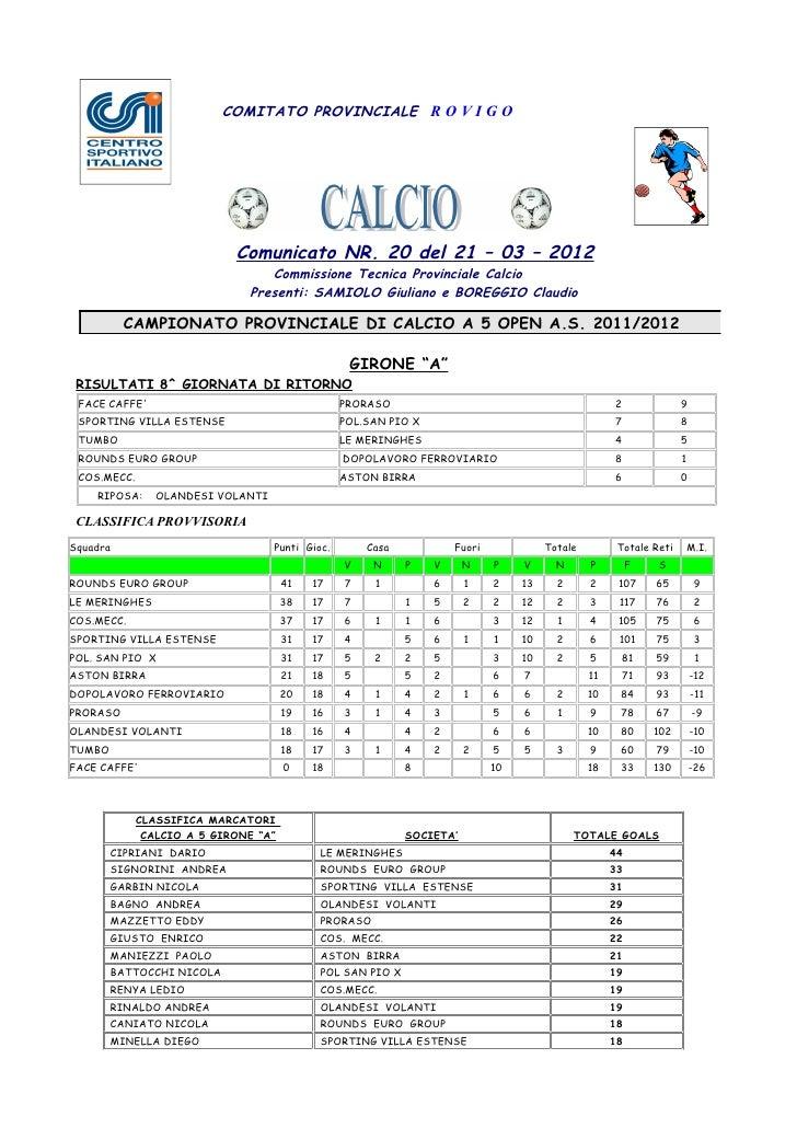 COMITATO PROVINCIALE R O V I G O                            Comunicato NR. 20 del 21 – 03 – 2012                          ...
