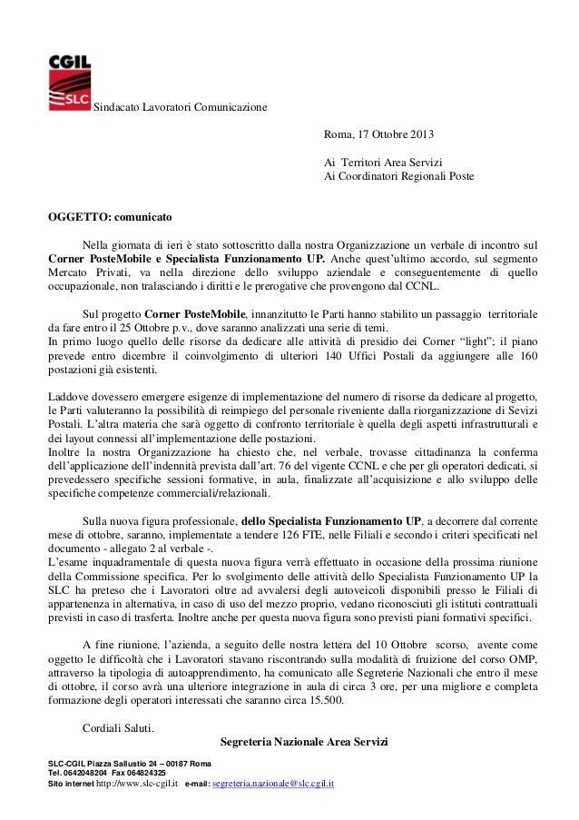 Sindacato Lavoratori Comunicazione Roma, 17 Ottobre 2013 Ai Territori Area Servizi Ai Coordinatori Regionali Poste  OGGETT...