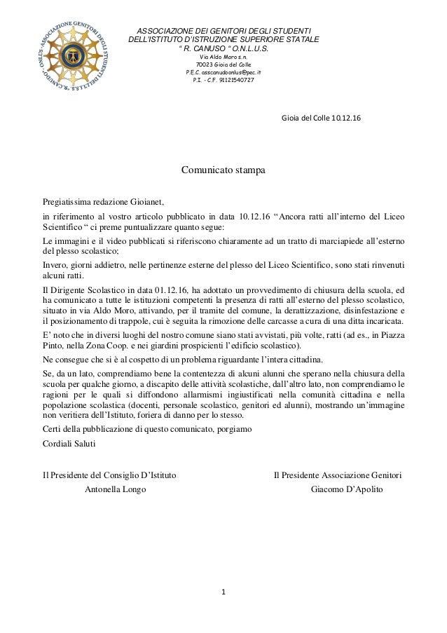 """ASSOCIAZIONE DEI GENITORI DEGLI STUDENTI DELL'ISTITUTO D'ISTRUZIONE SUPERIORE STATALE """" R. CANUSO """" O.N.L.U.S. Via Aldo Mo..."""