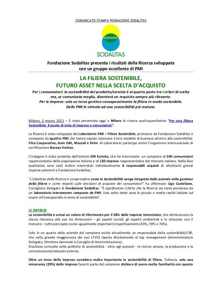 COMUNICATO STAMPA FONDAZIONE SODALITAS            Fondazione Sodalitas presenta i risultati della Ricerca sviluppata      ...