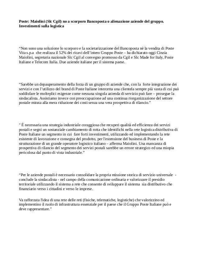 """Poste: Maiolini (Slc Cgil) no a scorporo Bancoposta o alienazione aziende del gruppo. Investimenti sulla logistica  """"Non s..."""