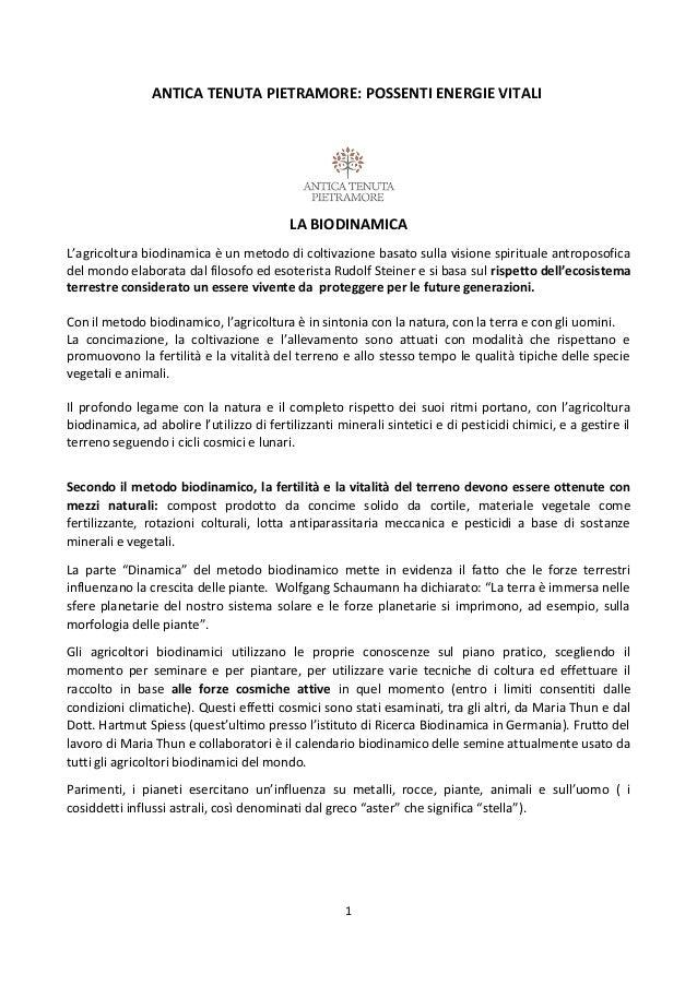 ANTICA TENUTA PIETRAMORE: POSSENTI ENERGIE VITALI LA BIODINAMICA L'agricoltura biodinamica è un metodo di coltivazione bas...