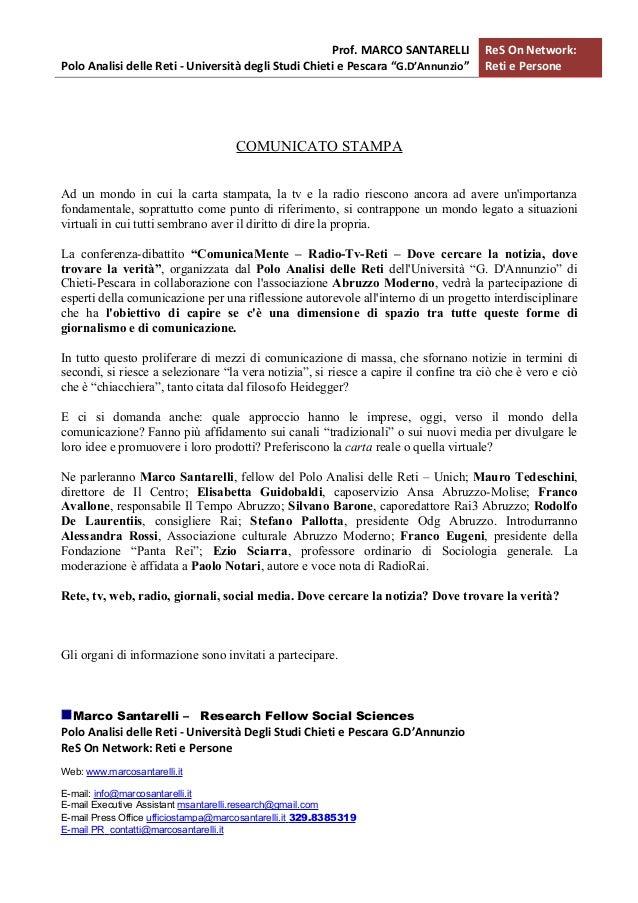 """Prof. MARCO SANTARELLI           ReS On Network:Polo Analisi delle Reti - Università degli Studi Chieti e Pescara """"G.D'Ann..."""