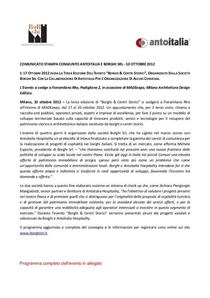 COMUNICATO STAMPA CONGIUNTO ANTOITALIA E BORGHI SRL - 10 OTTOBRE 2012IL 17 OTTOBRE 2012 INIZIA LA TERZA EDIZIONE DELLEVENT...