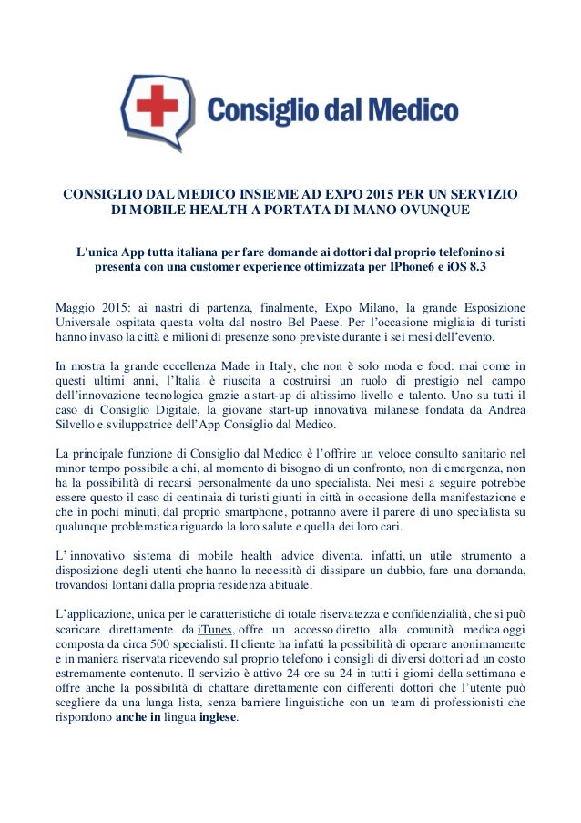 CONSIGLIO DAL MEDICO INSIEME AD EXPO 2015 PER UN SERVIZIO DI MOBILE HEALTH A PORTATA DI MANO OVUNQUE L'unica App tutta ita...