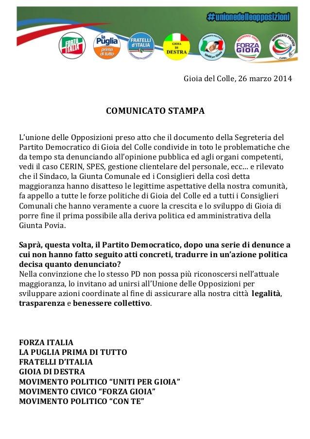 Gioia  del  Colle,  26  marzo  2014            COMUNICATO  STAMPA         L'unione  del...