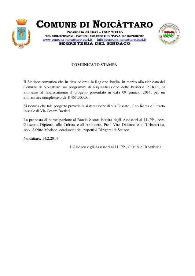 COMUNE DI NOICÀTTARO Provincia di Bari – CAP 70016  Tel. 080.4784242 – Fax 080.4784265 C.F./P.IVA 05165930727  www.comune....