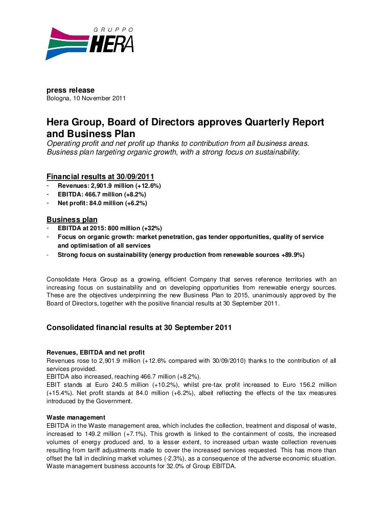 press releaseBologna, 10 November 2011Hera Group, Board of Directors approves Quarterly Reportand Business PlanOperating p...