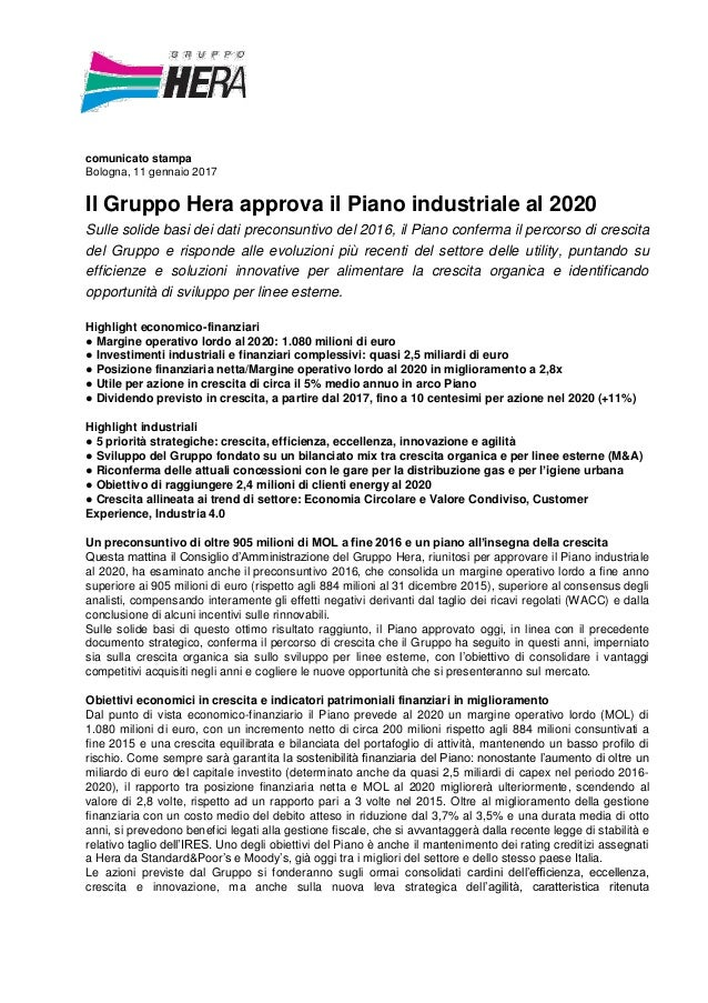 e54eb28541 comunicato stampa Bologna, 11 gennaio 2017 Il Gruppo Hera approva il Piano  industriale al 2020 ...