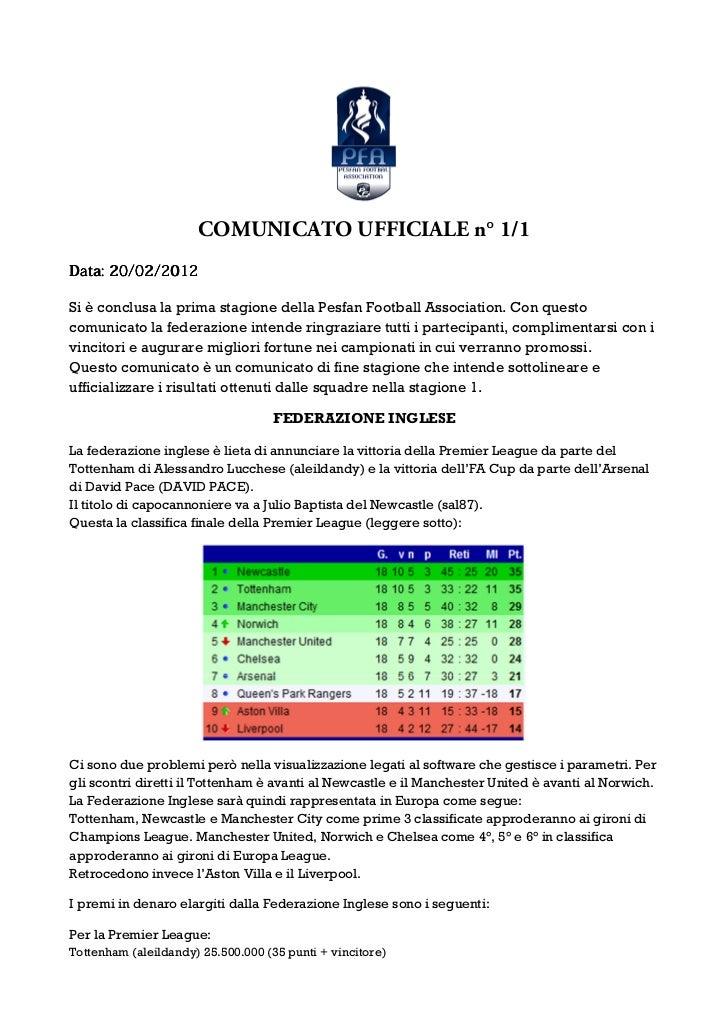 COMUNICATO UFFICIALE n° 1/1Data: 20/02/2012Si è conclusa la prima stagione della Pesfan Football Association. Con questoco...