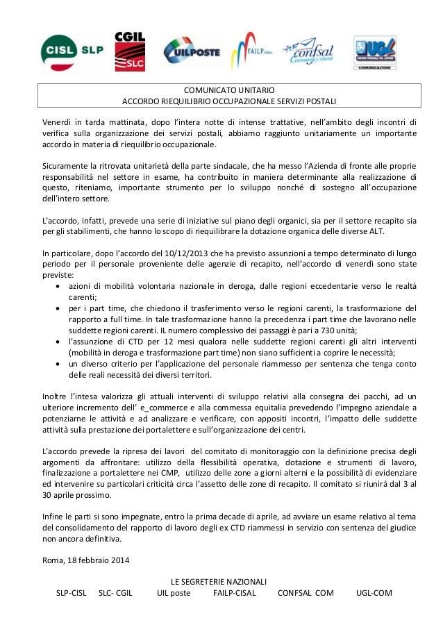 COMUNICATO UNITARIO ACCORDO RIEQUILIBRIO OCCUPAZIONALE SERVIZI POSTALI Venerdì in tarda mattinata, dopo l'intera notte di ...