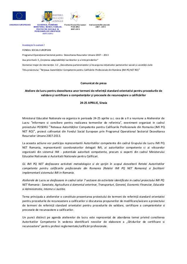 UNIUNEA EUROPEANĂ GUVERNUL ROMÂNIEIMINISTERUL MUNCII, FAMILIEI,PROTECŢIEI SOCIALE IȘPERSOANELOR VĂRSTNICEAMPOSDRUFondul So...
