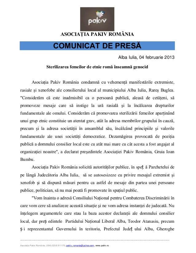 ASOCIAŢIA PAKIV ROMÂNIA                              COMUNICAT DE PRESĂ                                                   ...