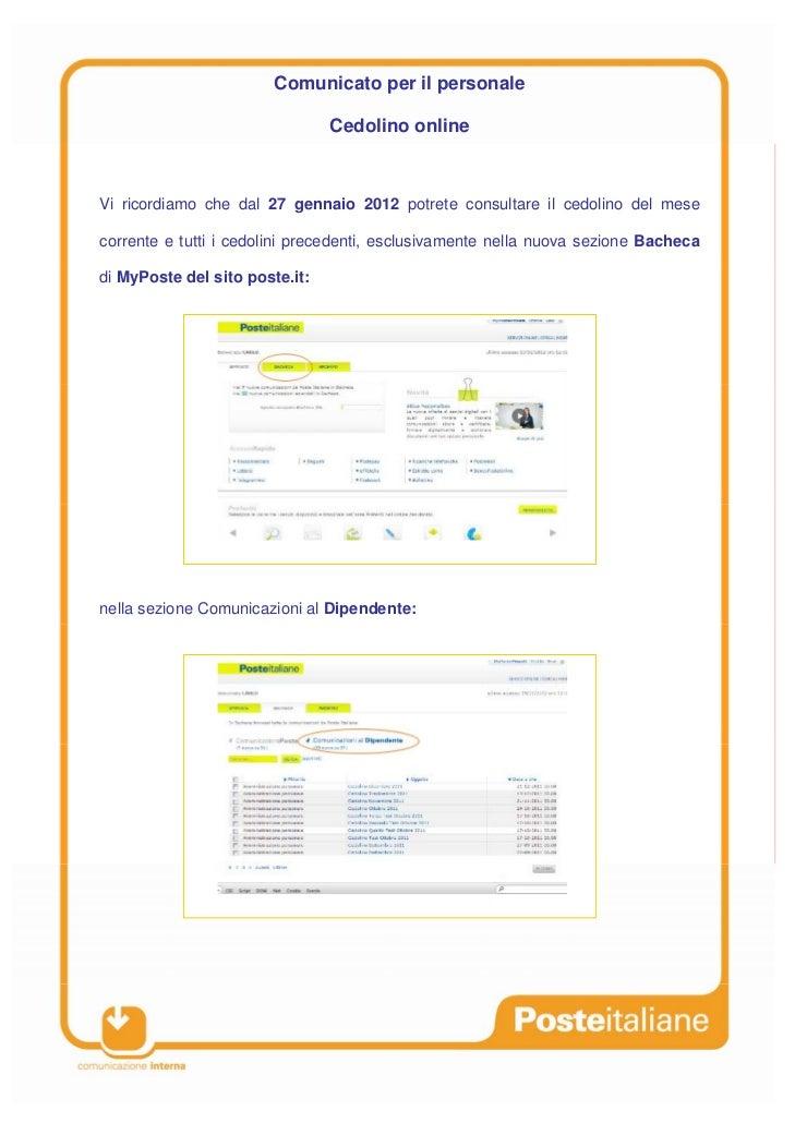 Comunicato per il personale                                Cedolino onlineVi ricordiamo che dal 27 gennaio 2012 potrete co...