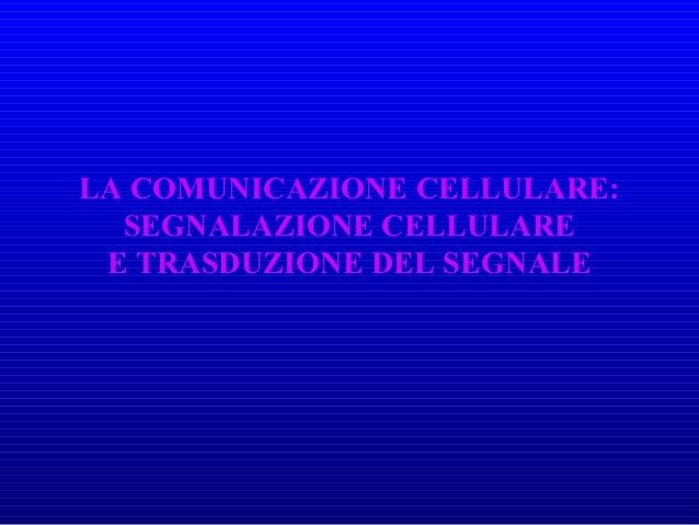 LA COMUNICAZIONE CELLULARE: SEGNALAZIONE CELLULARE E TRASDUZIONE DEL SEGNALE