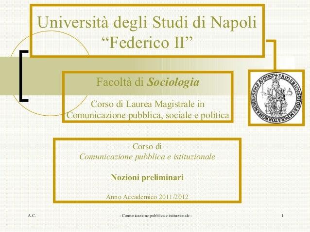 """Università degli Studi di Napoli                """"Federico II""""                  Facoltà di Sociologia               Corso d..."""