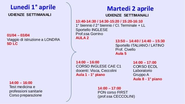 Lunedi 1° aprile 14:00 – 16:00 CORSO INGLESE CAE C1 docenti: Visca, Ceccolini Aula 1 - 1° piano UDIENZE SETTIMANALI 01/04 ...