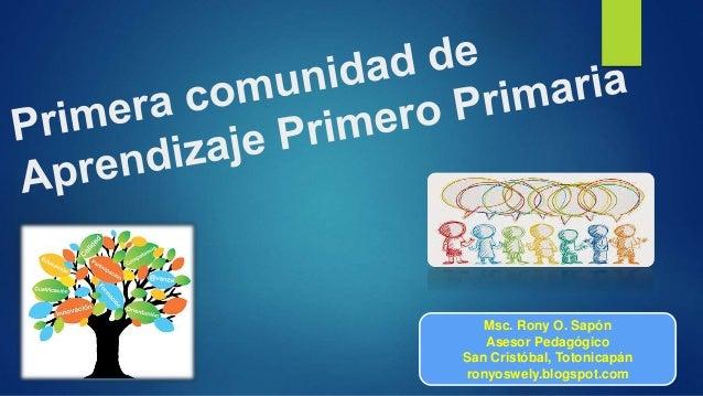 Msc. Rony O. Sapón Asesor Pedagógico San Cristóbal, Totonicapán ronyoswely.blogspot.com