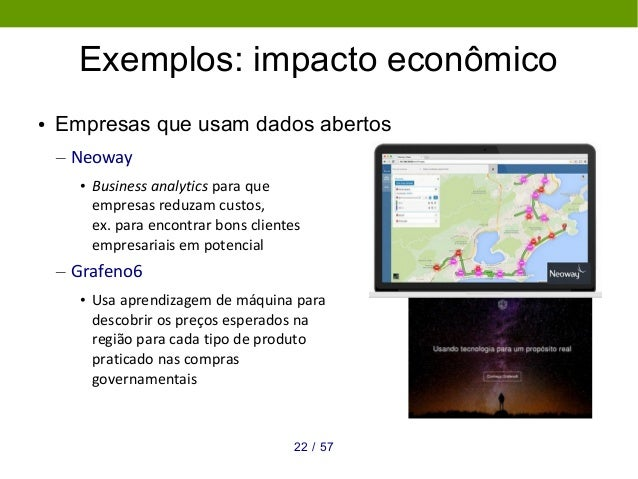 5722 / Exemplos: impacto econômico ● Empresas que usam dados abertos – Neoway • Business analytics para que empresas reduz...