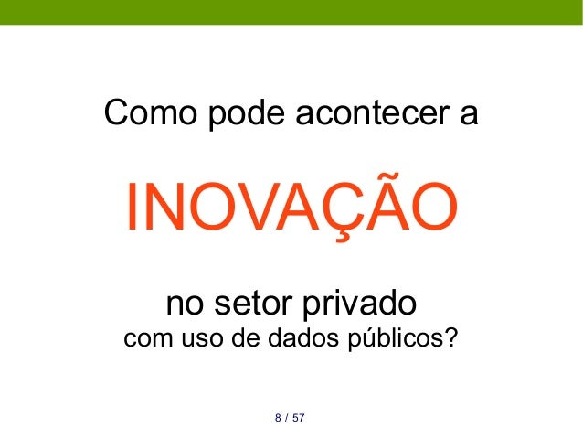 Como pode acontecer a INOVAÇÃO no setor privado com uso de dados públicos? 578 /