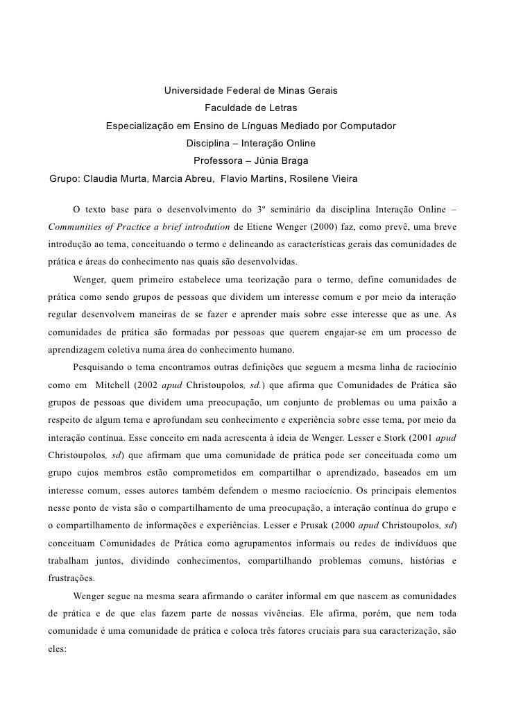 Universidade Federal de Minas Gerais                                      Faculdade de Letras                Especializaçã...