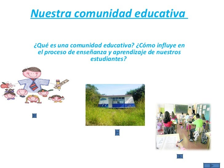 Nuestra comunidad educativa   ¿Qué es una comunidad educativa? ¿Cómo influye en el proceso de enseñanza y aprendizaje de ...