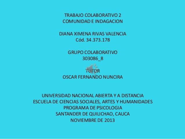 TRABAJO COLABORATIVO 2 COMUNIDAD E INDAGACION DIANA XIMENA RIVAS VALENCIA Cód. 34.373.178 GRUPO COLABORATIVO 303086_8 TUTO...