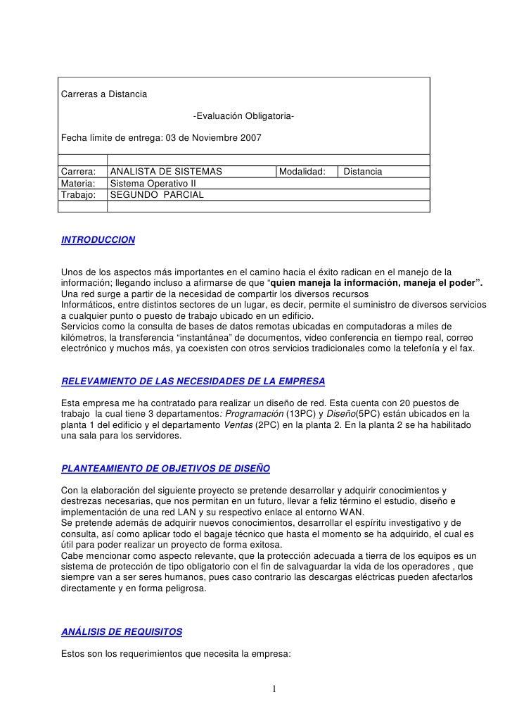 Carreras a Distancia                                  -Evaluación Obligatoria-  Fecha límite de entrega: 03 de Noviembre 2...