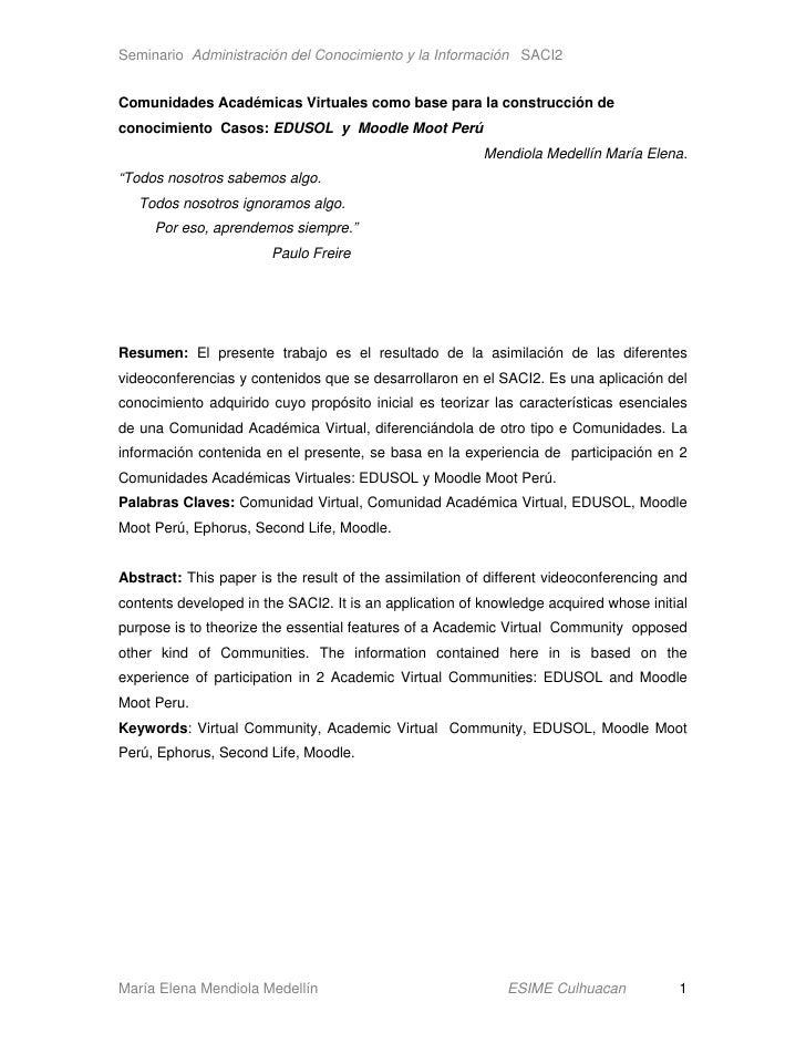 Seminario Administración del Conocimiento y la Información SACI2   Comunidades Académicas Virtuales como base para la cons...
