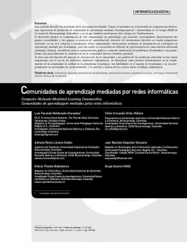 Comunidades de aprendizaje mediadas por redes informáticas Computer-Network-Mediated Learning Communities Comunidades de a...
