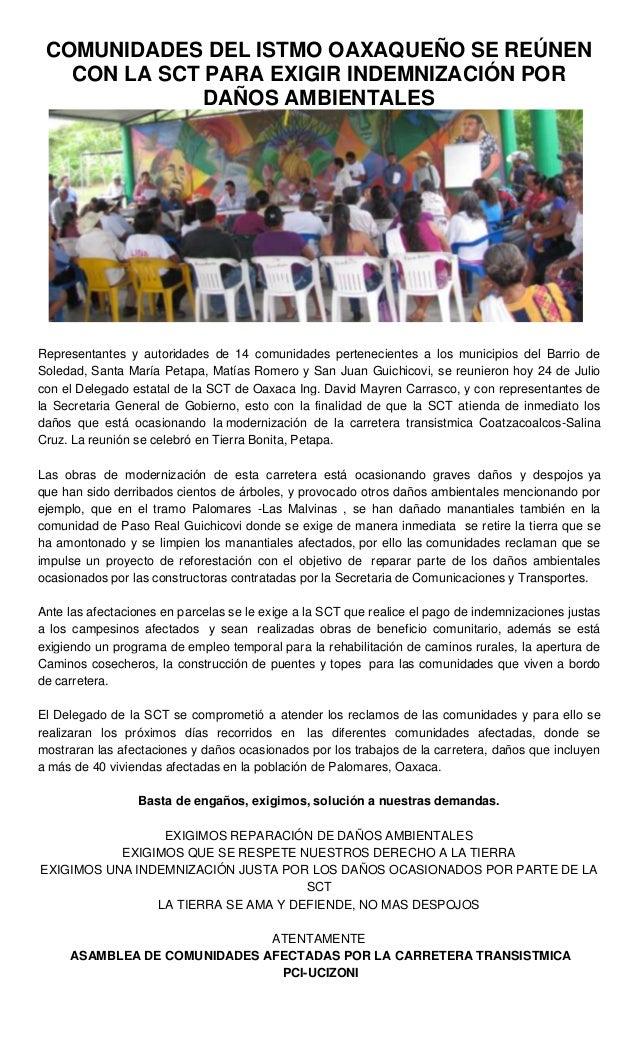 COMUNIDADES DEL ISTMO OAXAQUEÑO SE REÚNEN CON LA SCT PARA EXIGIR INDEMNIZACIÓN POR DAÑOS AMBIENTALES Representantes y auto...