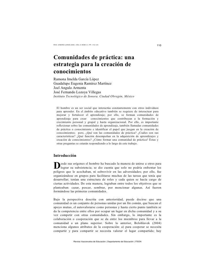 RVE | ENERO-JUNIO 2006 | VOL II, NÚM. 2 | PP. 110-121                                                                     ...