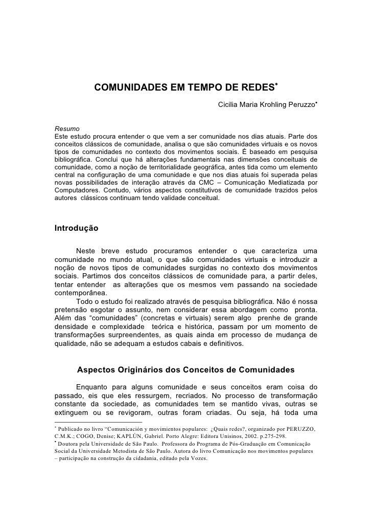 COMUNIDADES EM TEMPO DE REDES∗                                                               Cicilia Maria Krohling Peruzz...