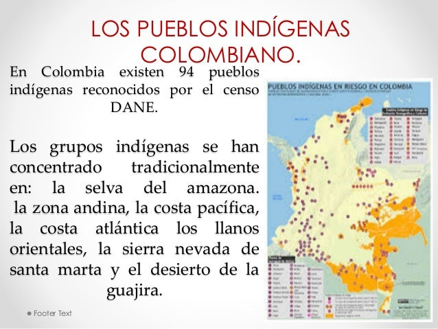 LOS PUEBLOS INDÍGENAS  COLOMBIANO.  En Colombia existen 94 pueblos  indígenas reconocidos por el censo  DANE.  Los grupos ...